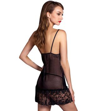 Female Temptation Transparent Lace Nightgown Underwear Dress BK