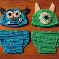 Monsters, Inc. inspired Mike & Sully crochet hat and diaper cover-perfect for twins!