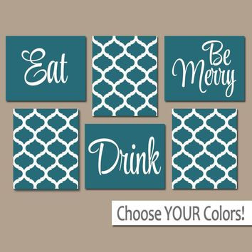 EAT DRINK be Merry Wall Art, CANVAS or Prints, Teal Kitchen Decor, Teal Dining Room Pictures, Trellis Pattern, Home Decor Set of 6 Pictures