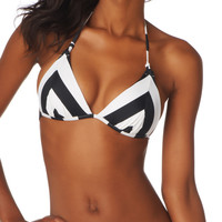 black and white chevron push-up swim top