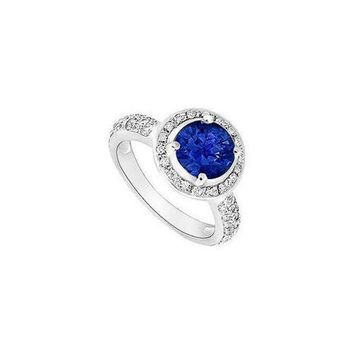 ICIK7Q Sapphire and Diamond Halo Engagement Ring : 14K White Gold - 1.50 CT TGW