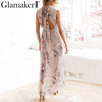 Glamaker Floral winter dress women split long beach dress Flower backless maxi dress female Elegant dress mesh vestidos new