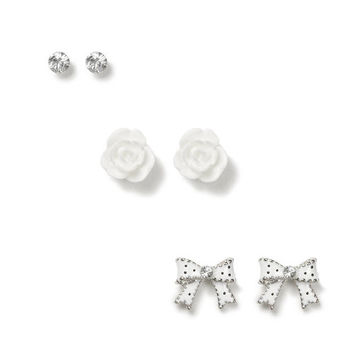 Crystal, Carved Rose and Polka Dot Bow Stud Earrings Set of 3