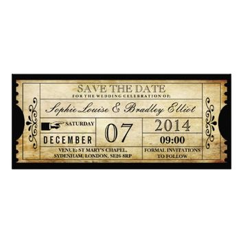 Vintage Wedding Ticket Invitations- Save the Date