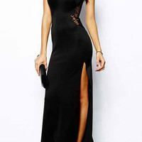 Black Spaghetti Strap Lace Panel Maxi Dress