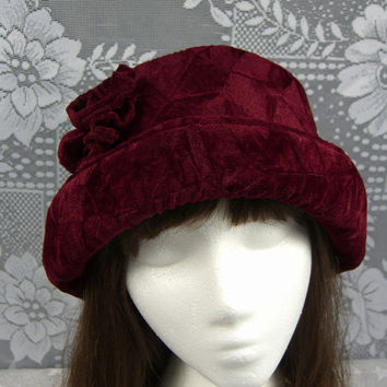 Crushed VELVET Hat with velvet rose, Women's Velvet Hat, Velvet Hat, Burgundy Velvet Hat