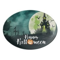 Spooky Haunted House Costume Night Sky Halloween Porcelain Serving Platter