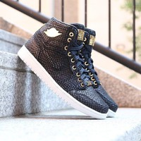 Best Online Sale Air Jordan 1 Pinnacle AJ 30th Anniversary Black Gold 24K Basketball Shoes 705075-030