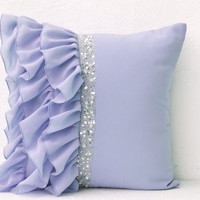 Designer Pillow Cover In Lilac With Ruffles And sequins Gift Pillow Accent Pillow