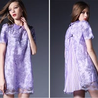 Pleated Embroidered Lace Dress in Purple, Blue or Green