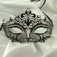 Sexy Black Metal Laced Metallic Masquerade Mask with Glamorous Rhinestones