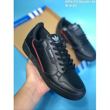 DCCK  A195 Adidas Continentel 80 Ratro Leather Skate Shoes Black Red