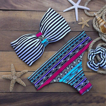 Striped Two Pieces Print Bikini Bandage Swimsuit Bathing Suit