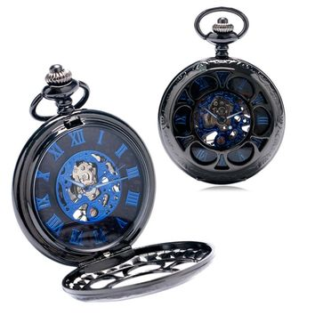 Wind-up Pocket Watch Vintage Hollow Pendant Chain Clock Mechanical Hand Wind Retro Engraved Flower Watches Unisex Women