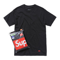 Supreme: Hanes Tagless T-Shirts (3-Pack) - Black