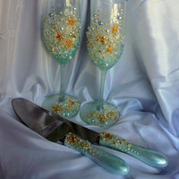 Personalized Beach Wedding Cake Server Set with Matching Champagne Flutes