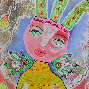 Fairy Painting Whimsical Outsider Folk Art Pastel Colors Bohemian Colorful Angel Queen Collagraph Print Childrens Room Art Nursery