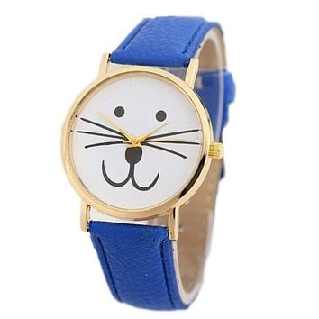 Womens Girls Cute Cat Leather Strap Watch Best Christmas Gift