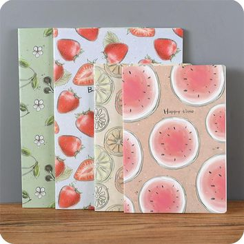 4 pcs/lot Sweet Summer Juicy Fruit Notebook Diary Book Schedule Book Scratch Notepad Escolar Papelaria Stationery