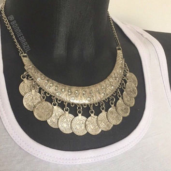 Gold or silver chunky coin necklace with matching coin earrings