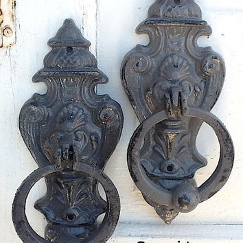Gray Door Knocker, French Decor, Granite, Distressed And Chippy , Metal Wall Decor