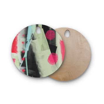 """Rosa Picnic """"Abs-3"""" Pink Teal Abstract Contemporary Painting Watercolor Round Wooden Cutting Board"""