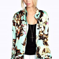 Winter Women's Fashion Print Casual Zippers Jacket [6513444103]