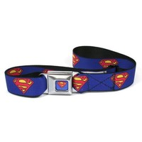 Superman Blue Seatbelt Belt, One size fits most