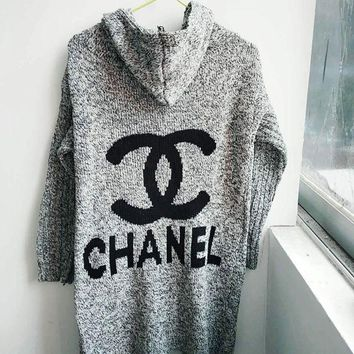 DCCKN7K ' Chanel '' Hooded Sweater Knit Cardigan Jacket Coat Grey