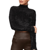 Pullover Knitted Crop Top Fluffy Sweater