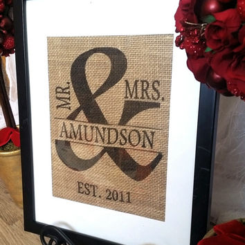 BURLAP Personalized Wedding Gift -Burlap Print -Monogram Wall Art MR. & MRS. - Family Name Sign with Established Date
