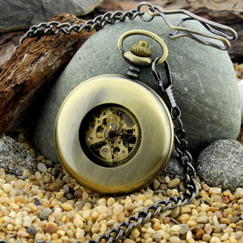 Personalized Pocket Watch, Mens Mechanical Pocket Watch, Steampunk Pocket Watch, Father's Day Gifts, Husband Gifts, Best Man Gift, Mens Gift