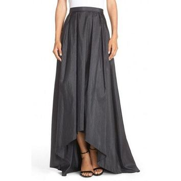 DCCKDZ2 Modest Elegant High Low Skirt Customized Zipper Waistline Floor Length Long Maxi Skirt Pleated Asymmetrical Skirts Women