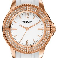 Women's VERSUS by Versace 'Tokyo' Crystal Bezel Silicone Strap Watch, 42mm - White/ Rose Gold
