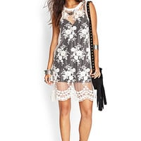 FOREVER 21 Floral Embroidered Mesh Dress Cream