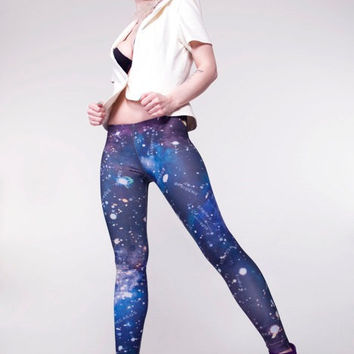 Galaxy Leggings, Blue - Hand Printed Constellations - Statement Tights
