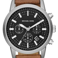 Men's Michael Kors 'Scout' Chronograph Leather Strap Watch, 43mm