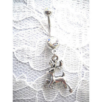 Country Girl Whitetail 8 Point BUCK Jumping Deer 3D Wildlife Animal Charm On Dazzling Double Clear CZ 14g Belly Button Ring Navel Jewelry