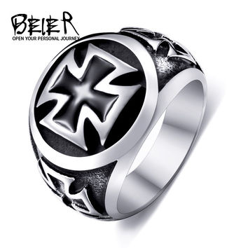Beier new store 316L Stainless Steel high qualityCool Fashion Iron Cross Ring Man Black Oil Painting jewelry BR8-073
