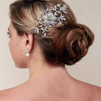 Rhinestone Flower Hair Comb ~ Helena - Hair Comes the Bride Bridal Hair Accessories & Headpieces, Wedding Jewelry, Hair & Makeup