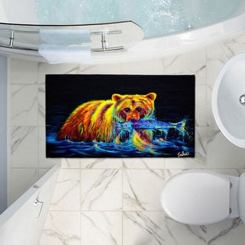 Colorful Grizzly Bear - Bath Rug - Night of the Grizzly by Teshia
