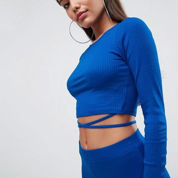 ASOS Crop Top in Rib with Tie Detail (Co-Ord) at asos.com