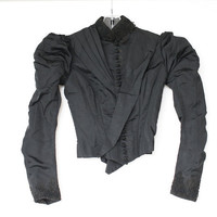 Victorian Jacket, Antique Black Mourning Jacket, 1800s, Silk Taffeta
