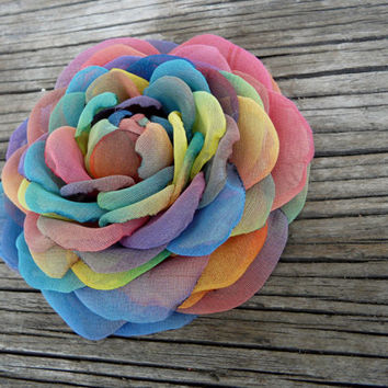 Huge Rainbow Hair Flower, Hippie Hair Accessory, Hippie Hair Clip, Multicolored Flower Brooch Prom