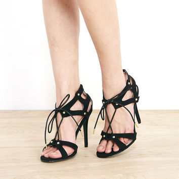 Qupid™ Strappy Lace-up Heels With Stud Detail | Wet Seal