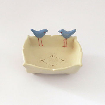 Small Ceramic Soap Dish Decorated with Blue Birds, Valentines Gift