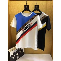 Fendi 2019 new F letter logo color strip men's round neck pullover half sleeve t-shirt