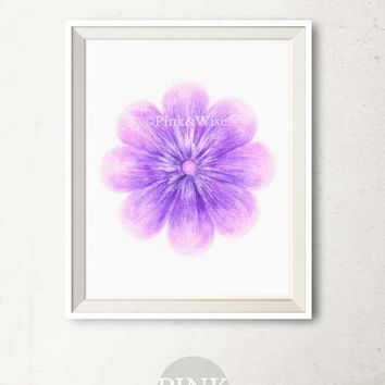 Purple Flower art print, Flower wall art floral Printable art wall decor Bedroom decor, Girly wall art, Printable artwork