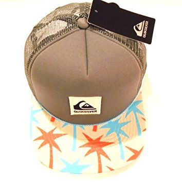 Quicksilver Surfing Board Sloppy Trucker Style Hat Skateboarding Cap (Cool Grey/Citric Acid Palm Print Brim)