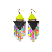 Rainbow Geometric Tie Dye Leather Earrings with Neon Triangles | Boo and Boo Factory - Handmade Leather Jewelry